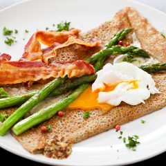 Asparagus and pancetta galette w/ poached egg