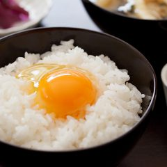 Raw egg on rice w/ miso-soup, pickled vegetables